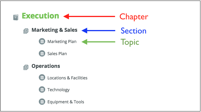 moving a chapter section or topic in the plan outline palo alto