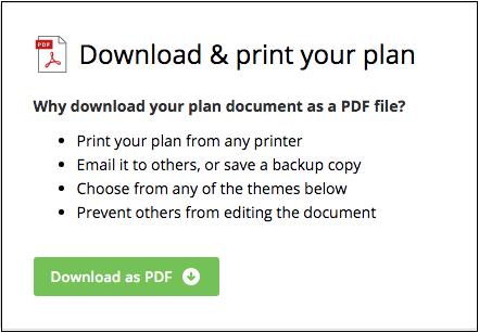 downloading your plan as a pdf palo alto software